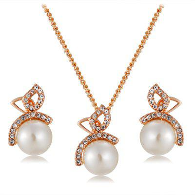 Artificial Pearl and Rhinestone Crystal Pendant Necklace and Earrings Set