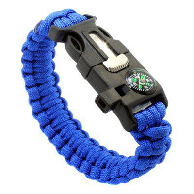 Buy Survival Bracelet Outdoor Emergency with Fire Starter Compass Whistle BLUE for $3.48 in GearBest store