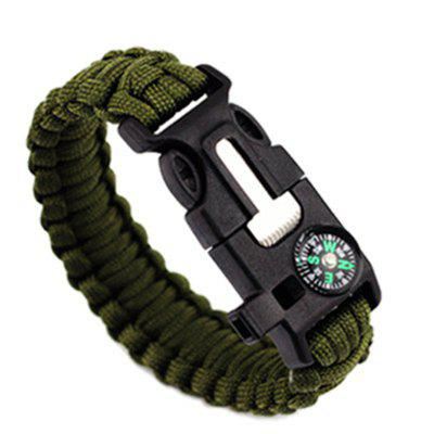 Buy Survival Bracelet Outdoor Emergency with Fire Starter Compass Whistle ARMYGREEN for $3.48 in GearBest store