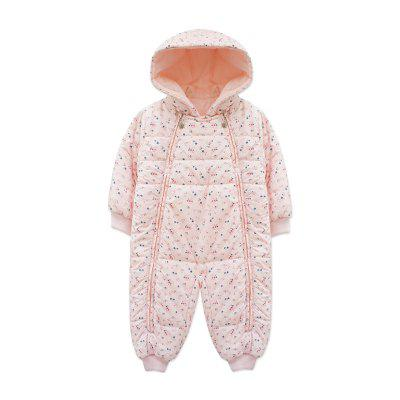 2017 Baby Girls Infant Winter Cute Floral Hooded Rompers