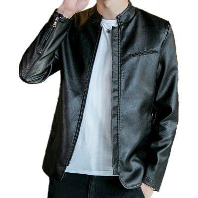 Stand Collar Leather JacketMens Jackets &amp; Coats<br>Stand Collar Leather Jacket<br><br>2021-1639: None<br>Clothes Type: Leather &amp; Suede<br>Collar: Stand Collar<br>Material: Faux Leather<br>Package Contents: 1?Jacket<br>Season: Spring, Fall, Winter<br>Shirt Length: Regular<br>Sleeve Length: Long Sleeves<br>Style: Vintage<br>Weight: 0.7000kg