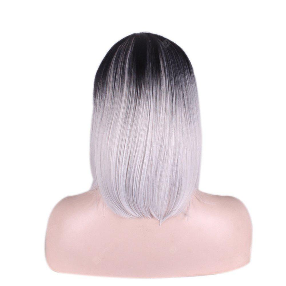 Short Straight Hairstyle Gradient White High Temperature Synthetic Wigs For Black White Women Cosplay Wig