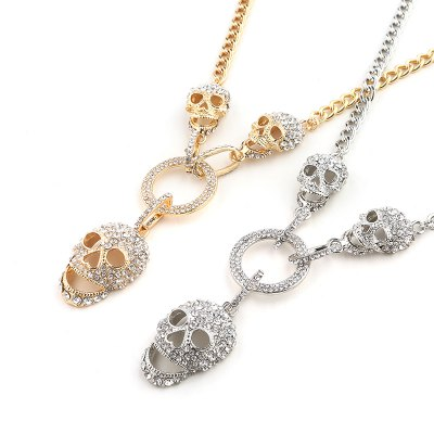 Europe and the United States trend new personality Diamond Skull necklace Halloween Creative sweater chainNecklaces &amp; Pendants<br>Europe and the United States trend new personality Diamond Skull necklace Halloween Creative sweater chain<br><br>Gender: Unisex<br>Item Type: Chains Necklaces<br>Material: Semi-Precious Stone<br>Metal Type: Zinc Alloy<br>Necklace Type: Link Chain<br>Package Contents: 1 x necklace<br>Package size (L x W x H): 1.00 x 1.00 x 1.00 cm / 0.39 x 0.39 x 0.39 inches<br>Package weight: 0.0620 kg<br>Product size (L x W x H): 1.00 x 1.00 x 1.00 cm / 0.39 x 0.39 x 0.39 inches<br>Shape/Pattern: Skulls<br>Stone Color: White<br>Style: Trendy<br>Surface Plating: 18K Gold Plated