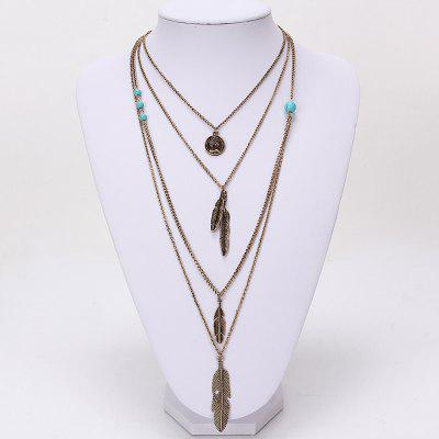 European and American Jewelry Multilayer Alloy Necklace Feather Pendant Turquoise Accessories Ladies OrnamentsNecklaces &amp; Pendants<br>European and American Jewelry Multilayer Alloy Necklace Feather Pendant Turquoise Accessories Ladies Ornaments<br><br>Gender: For Women<br>Item Type: Pendant Necklaces<br>Material: Semi-Precious Stone<br>Metal Type: Zinc Alloy<br>Necklace Type: Link Chain<br>Package Contents: 1 x necklace<br>Package size (L x W x H): 1.00 x 1.00 x 1.00 cm / 0.39 x 0.39 x 0.39 inches<br>Package weight: 0.0100 kg<br>Product size (L x W x H): 1.00 x 1.00 x 1.00 cm / 0.39 x 0.39 x 0.39 inches<br>Shape/Pattern: Geometric<br>Stone Color: Green<br>Style: Trendy<br>Surface Plating: Antique Gold Plated