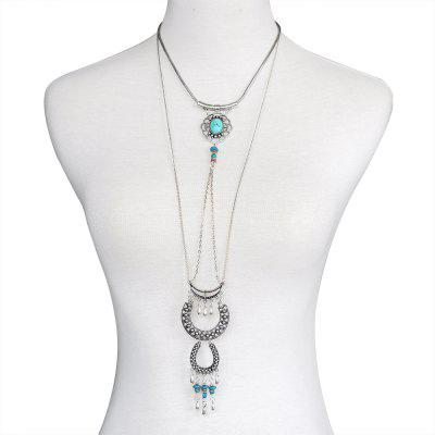European and American Popular Necklaces Multi-Layer Turquoise Fringed Sweater ChainNecklaces &amp; Pendants<br>European and American Popular Necklaces Multi-Layer Turquoise Fringed Sweater Chain<br><br>Gender: For Women<br>Item Type: Chains Necklaces<br>Material: Stone<br>Metal Type: Zinc Alloy<br>Necklace Type: Link Chain<br>Package Contents: 1 x necklace<br>Package size (L x W x H): 1.00 x 1.00 x 1.00 cm / 0.39 x 0.39 x 0.39 inches<br>Package weight: 0.1000 kg<br>Product size (L x W x H): 1.00 x 1.00 x 1.00 cm / 0.39 x 0.39 x 0.39 inches<br>Shape/Pattern: Geometric<br>Stone Color: Green<br>Style: Vintage<br>Surface Plating: Antique Silver Plated