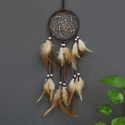 Dream Catcher Brown Color Wall Hanging Home Decoration Ornament Bead Feather Nylon Suede Dreamcatcher Handmade Gift