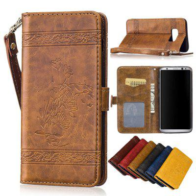 for Samsung Galaxy S8 PLUS Case Cover Embossed Oil Wax Lines Phone Case Cover PU Leather Wallet Style Case metal ring holder combo phone bag luxury shockproof case for samsung galaxy note 8