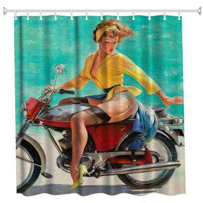 The Beauty on the Motorbike Polyester Shower Curtain Bathroom Curtain High Definition 3D Printing Water-Proof