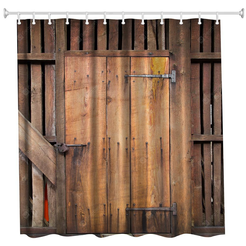 The Barn Doors Polyester Shower Curtain Bathroom Curtain High Definition 3D Printing Water-Proof
