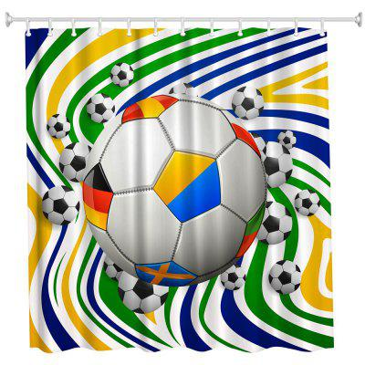 Color Bar Football Polyester Shower Curtain Bathroom Curtain High Definition 3D Printing Water-Proof
