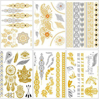 Metallic Henna Jewelry Inspired Waterproof Temporary Tattoos Stickers in Gold and Silver 6-Sheets