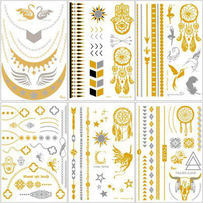 Jewelry Inspired Metallic Henna Waterproof Temporary Tattoos Stickers in Gold and Silver 6-Sheets