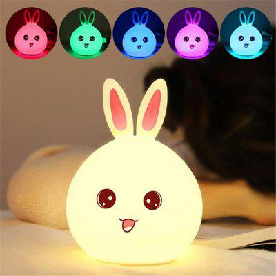 Cute Rabbit LED Night Light 7 Color Changing for Children Baby Kids Bedside Lamp Touch Control