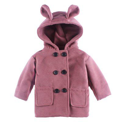 Girl'S Pure Color Hooded Cartoon Pure Color Trench Coat