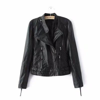Women PU Motorcycle Basic Chic Zippers Long Sleeve Jackets