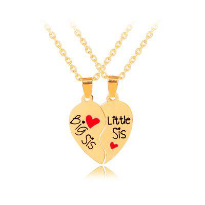 Good Sister Necklace BIG / MIDDLE / LITTLE Two Love Stitching Necklace