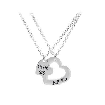 925 silver plated love heart big little sister pendant necklace mozeypictures Image collections