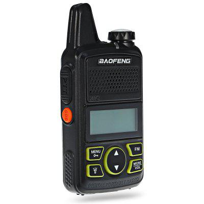 BAOFENG BF - T1 Walkie TalkieWalkie Talkies<br>BAOFENG BF - T1 Walkie Talkie<br><br>Antenna Impedance: 50ohm<br>Brand: Baofeng<br>Main Functions: English voice prompt, FM radio, CTCSS/DCS<br>Model Number: T1<br>Operating temperature: - 20 - 60 Deg.C<br>Output Power (high/low): 0.5/1w<br>Package Contents: 1 x BAOFENG BF - T1 Walkie Talkie, 1 x Battery, 1 x Earphone, 1 x Charger, 1 x USB Cable, 1 x Belt Clip, 1 x Lanyard, 1 x English User Manual<br>Package Dimension: 17.50 x 14.00 x 5.00 cm / 6.89 x 5.51 x 1.97 inches<br>Package weight: 0.2920 kg<br>Product Dimension: 5.50 x 1.80 x 10.80 cm / 2.17 x 0.71 x 4.25 inches<br>Product weight: 0.0980 kg<br>Special function: Flashlight