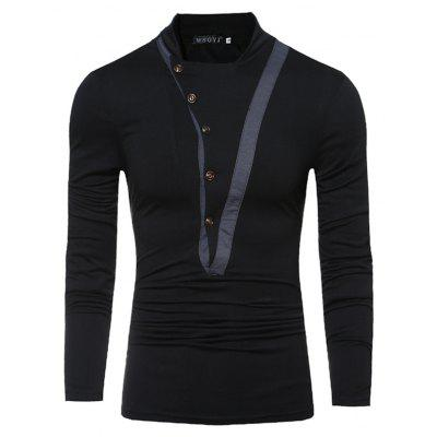 Stitching Button Collar Collar Long-Sleeved T-ShirtMens T-shirts<br>Stitching Button Collar Collar Long-Sleeved T-Shirt<br><br>Collar: Round Neck<br>Material: Polyester<br>Package Contents: 1xT Shirt<br>Pattern Type: Solid<br>Sleeve Length: Full<br>Style: Fashion<br>Weight: 0.2500kg