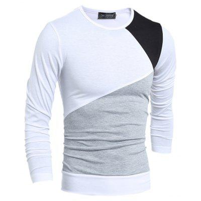 Men's Fashion Stitching Long-Sleeved T-Shirt