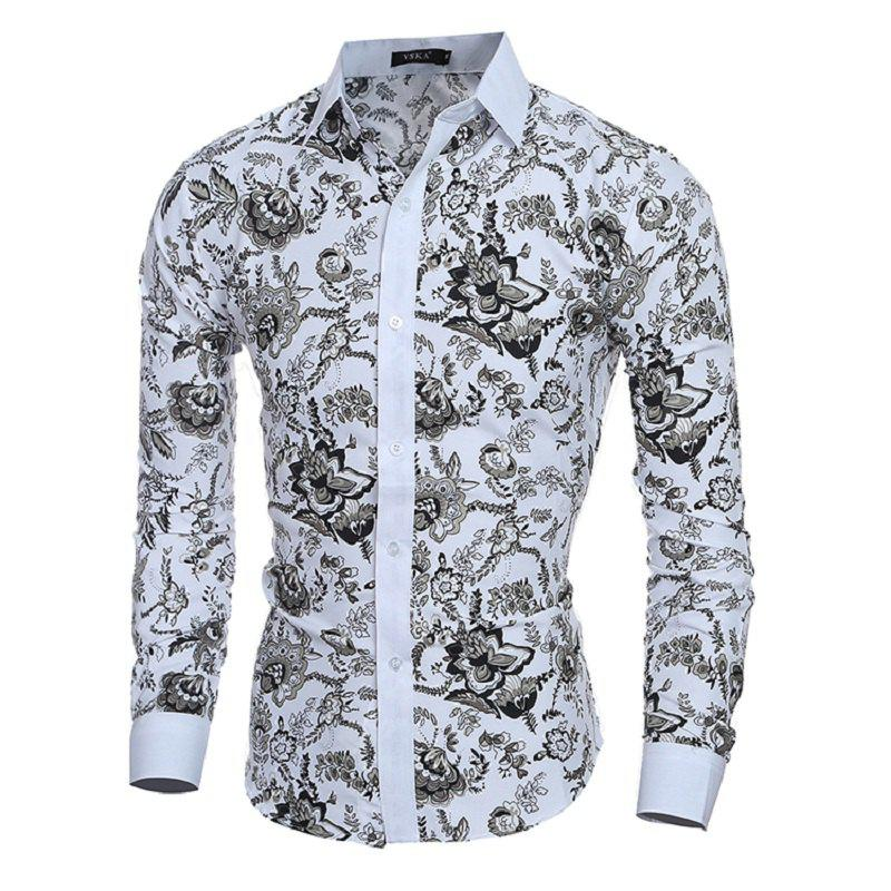 Men'S Casual Classic Slim Style Printed Long-Sleeved Shirt