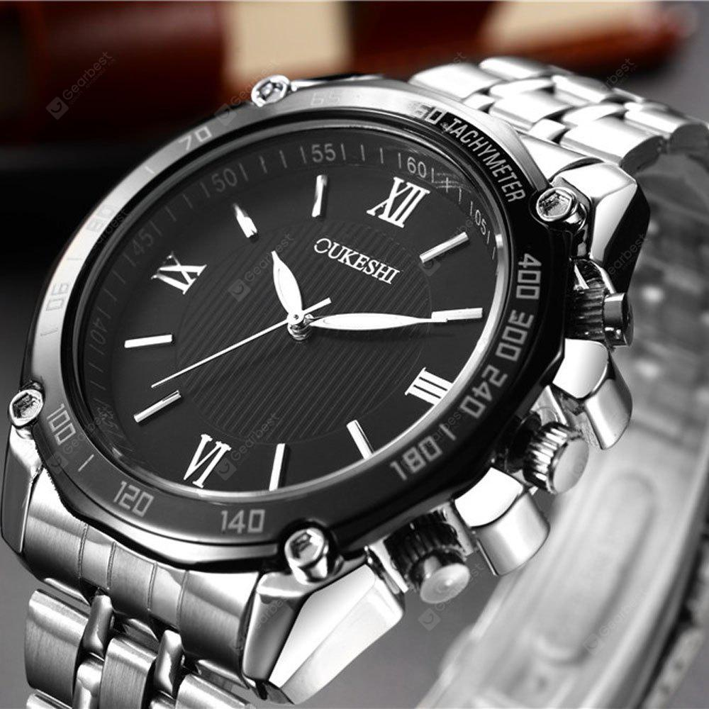 Stylish Large Dial Men's Movement Watch Simple Roman Numerals Quartz Steel
