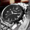 Stylish Large Dial Men's Movement Watch Simple Roman Numerals Quartz Steel - BLACK