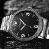 Simple Stainless Steel Quartz Watch Large Dial Sports Watch - BLACK