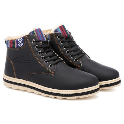 Buy BLACK 40 New Fashion British Martin Boots Winter Warm Wool Leather Shoes Mens Waterproof Flat Shoes for $45.00 in GearBest store