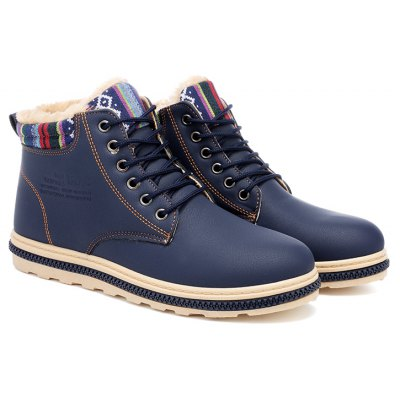 Buy BLUE 39 New Fashion British Martin Boots Winter Warm Wool Leather Shoes Mens Waterproof Flat Shoes for $45.00 in GearBest store
