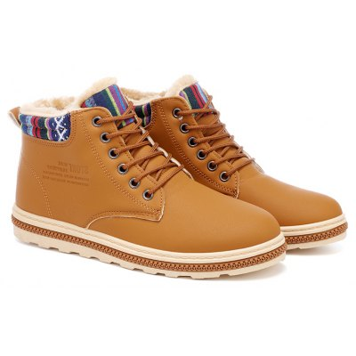 New Fashion British Martin Boots Winter Warm Wool Leather Shoes Mens Waterproof Flat Shoes