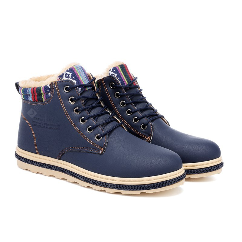 BLUE 41 New Fashion British Martin Boots Winter Warm Wool Leather Shoes Mens Waterproof Flat Shoes