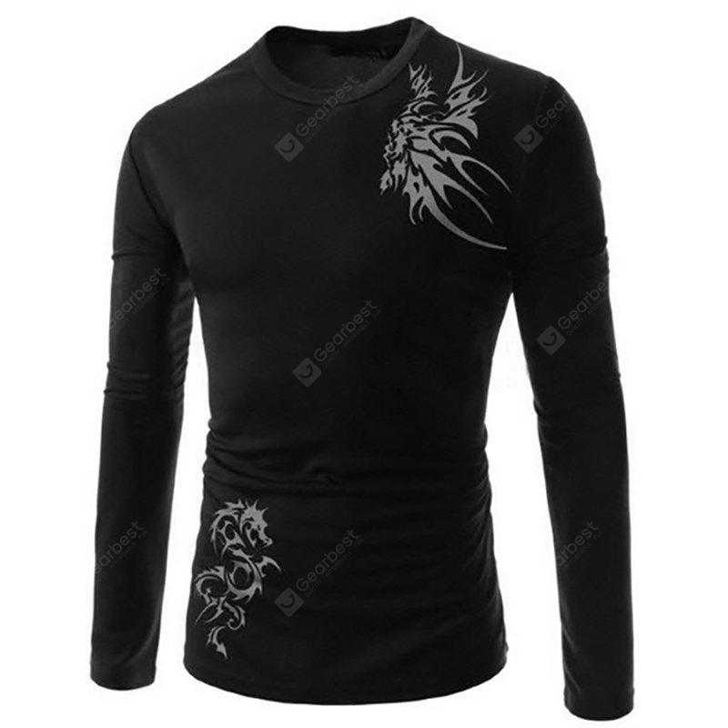 Hombres Longfeng Tattoo Printing Design Sports Long-Sleeved Camiseta