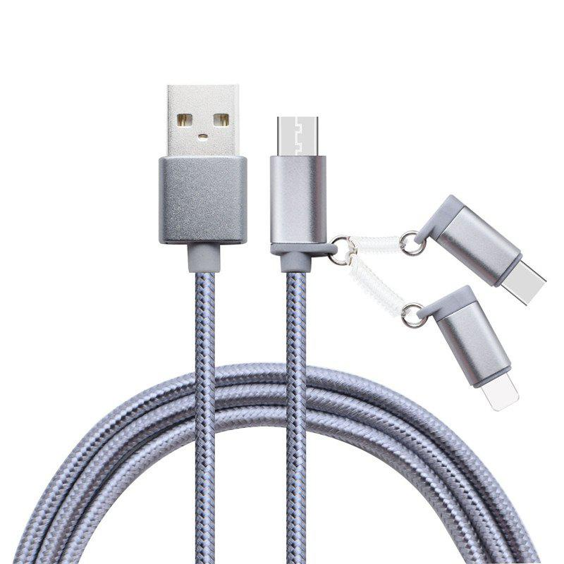 3 in 1 Micro USB+Type-C + 8 Pin Nylon Braid Fast Data Cabler 1M