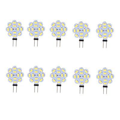 10PCS G4 3.5W LED Bi-Pin Lights 12LEDS SMD 5730 300-350LM DC12V Decorative LampLED Bi-pin Lights<br>10PCS G4 3.5W LED Bi-Pin Lights 12LEDS SMD 5730 300-350LM DC12V Decorative Lamp<br><br>Color Temperature or Wavelength: 6000 - 6500K (White) ; 2800 - 3200K (Warm White)<br>Connection: G4<br>Connector Type: G4<br>Dimmable: No<br>Features: Decorative, Infrared Sensor<br>Initial Lumens ( lm ): 300-350<br>LED Beam Angle: 180 Degree<br>LED Quantity: 12<br>LED Type: SMD 5730<br>Lifetime ( h ): More Than  30000<br>Light Source Color: White,Warm White<br>Material: PCB<br>Package Contents: 10 x LED BI-PIN Lamp<br>Package size (L x W x H): 10.00 x 8.00 x 1.00 cm / 3.94 x 3.15 x 0.39 inches<br>Package weight: 0.0300 kg<br>Primary Application: Cycling,Living Room,Bathroom,Bedroom,Kitchen,Hallway or Stairwell,Storage Room or Utility Room,Garage or Carport,Residential,Everyday Use,Childrens Room,Storage Room<br>Product size (L x W x H): 4.40 x 3.00 x 0.43 cm / 1.73 x 1.18 x 0.17 inches<br>Product weight: 0.0020 kg<br>Quantity: 10pcs<br>Type: LED Bi-pin Lights<br>Voltage: 12V DC<br>Wattage: 3.5W