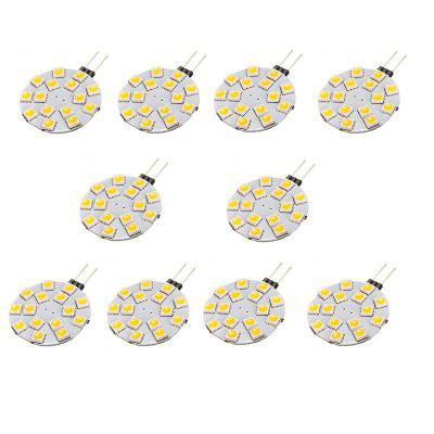 G4 4.5W SMD5050 400 - 450LM 15LEDs Bi-Pin Lights DC12V 10PCSLED Bi-pin Lights<br>G4 4.5W SMD5050 400 - 450LM 15LEDs Bi-Pin Lights DC12V 10PCS<br><br>Color Temperature or Wavelength: 6000 - 6500K (White) ; 2800 - 3200K (Warm White)<br>Connection: G4<br>Connector Type: G4<br>Dimmable: No<br>Features: Decorative, Infrared Sensor<br>Initial Lumens ( lm ): 400-450<br>LED Beam Angle: 180 Degree<br>LED Quantity: 15<br>LED Type: SMD 5050<br>Lifetime ( h ): More Than  30000<br>Light Source Color: White,Warm White<br>Material: PCB<br>Package Contents: 10 x LED BI-PIN Lamp<br>Package size (L x W x H): 10.00 x 8.00 x 2.00 cm / 3.94 x 3.15 x 0.79 inches<br>Package weight: 0.0400 kg<br>Primary Application: Living Room,Bathroom,Bedroom,Kitchen,Home Decoration,Children Room,Living Room or Dining Room,Hallway or Stairwell,Storage Room or Utility Room,Residential,Everyday Use,Childrens Room,Storage Room<br>Product size (L x W x H): 4.90 x 3.60 x 0.40 cm / 1.93 x 1.42 x 0.16 inches<br>Product weight: 0.0040 kg<br>Quantity: 10pcs<br>Type: LED Bi-pin Lights<br>Voltage: 12V DC<br>Wattage: 4.5W