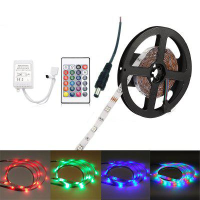 ZDM 5M 24W RGB SMD2835 LED Strip Light 24 / 44Key IR Controller Kit with Male DC Connector