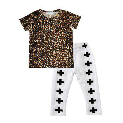 SOSOCOER Kids Clothes Set Leopard Print Short Sleeved T - Shirts and Cross - Printed Trousers Two Pieces