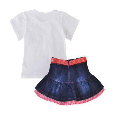 SOSOCOER Kids Girls Clothes Set White Short Sleeved T - Shirt + Ribbon Cowboy Skirt Two PieceGirls clothing sets<br>SOSOCOER Kids Girls Clothes Set White Short Sleeved T - Shirt + Ribbon Cowboy Skirt Two Piece<br><br>Brand: SOSOCOER<br>Collar: Round Neck<br>Material: Cotton, Jeans<br>Package Contents: 1 x T-shirt, 1 x Dress<br>Pattern Type: Figure<br>Shirt Length: Regular<br>Sleeve Length: Short<br>Style: Personality<br>Weight: 0.3500kg