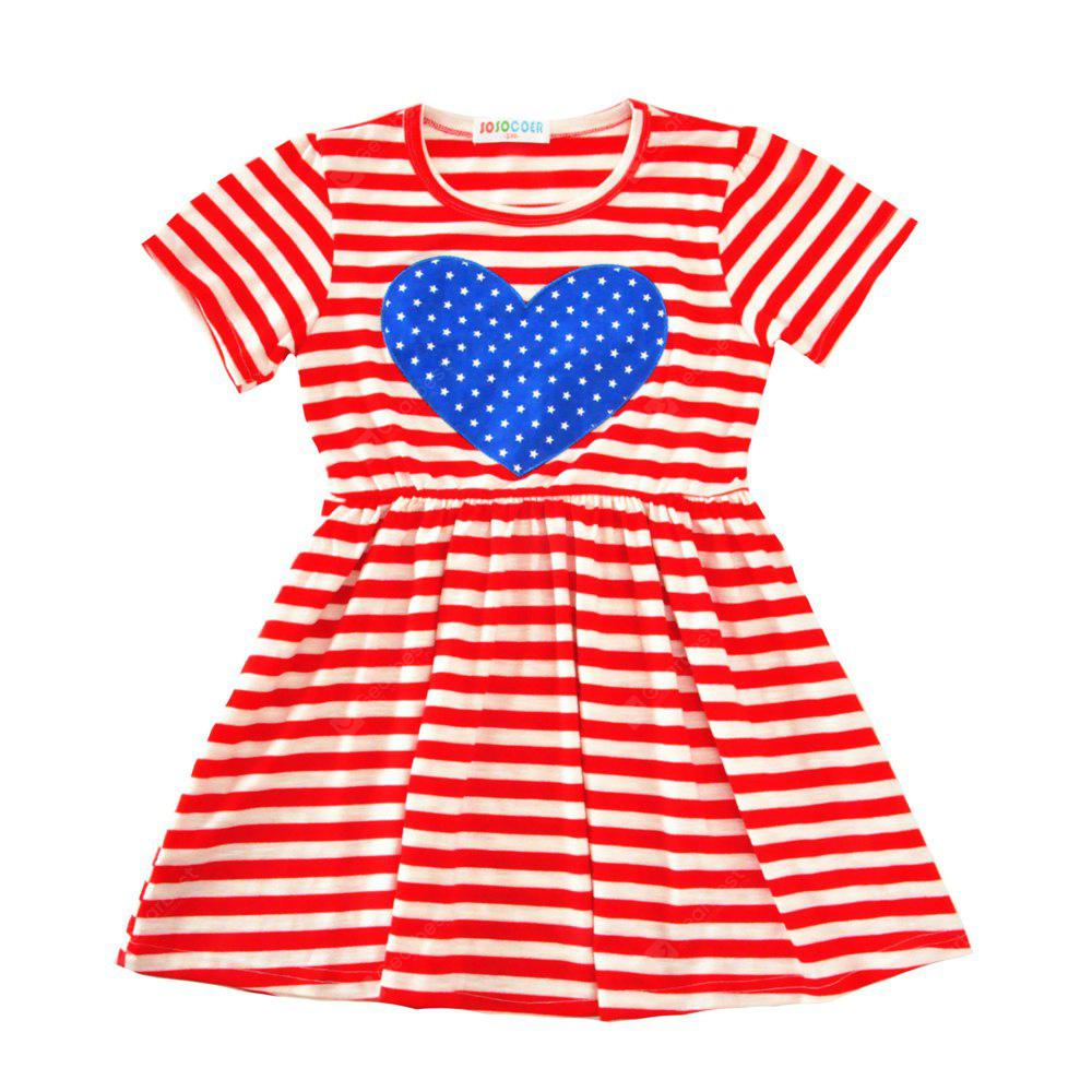 SOSOCOER Girls Dresses Fashionable Short Sleeved Red Striped Love Skirt