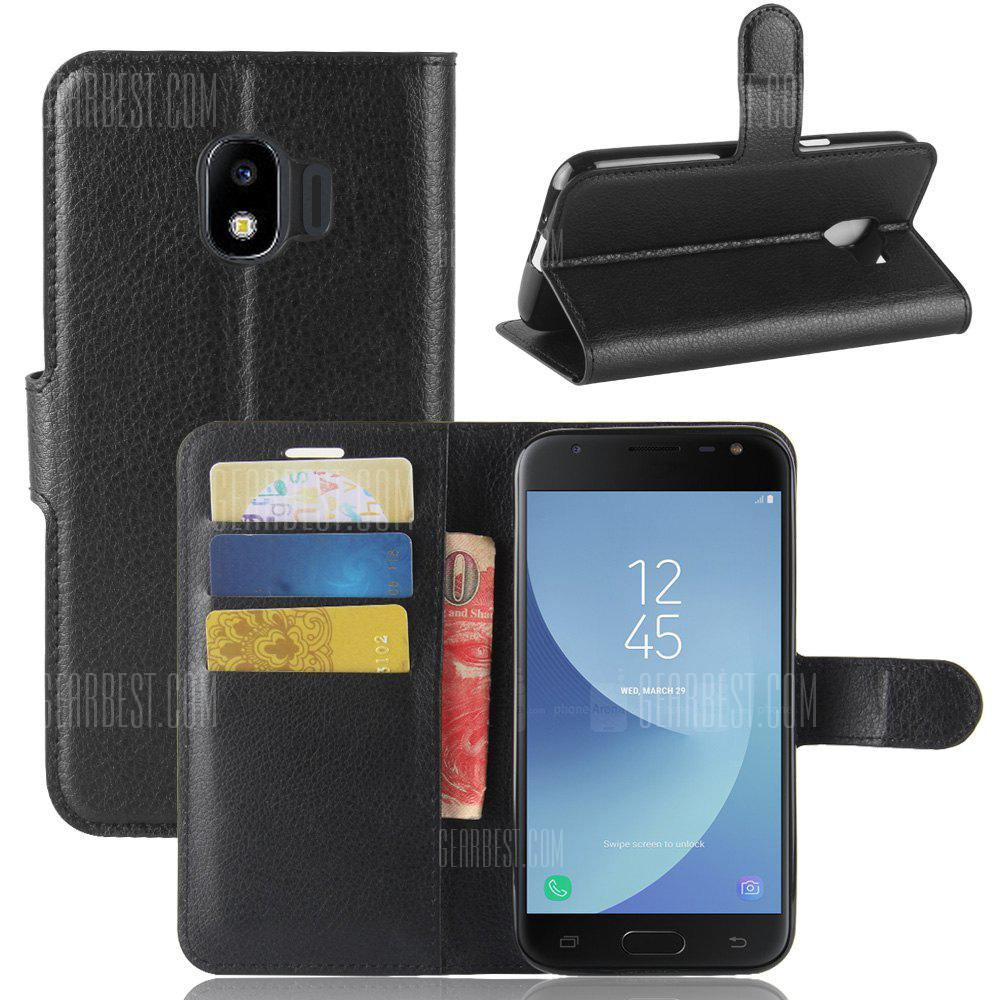 Solid Color Litchi Pattern Wallet Style Front Buckle Flip Pu Leather Case for Samsung Galaxy J2 Pro 2018