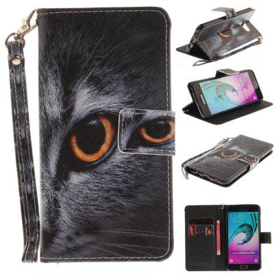 Cover Case for Samsung Galaxy A5 2016(A510) Half Face of Cat PU+TPU Leather with Stand and Card Slots Magnetic Closure