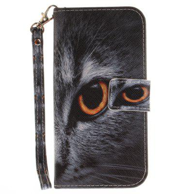 Cover Case for Samsung Galaxy A5 2017(A520) Half Face of Cat PU+TPU Leather with Stand and Card Slots Magnetic Closure a cat a hat and a piece of string