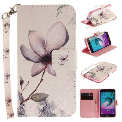 Cover Case for Samsung Galaxy J3 2016 (J310) Magnolia PU+TPU Leather with Stand and Card Slots Magnetic Closure