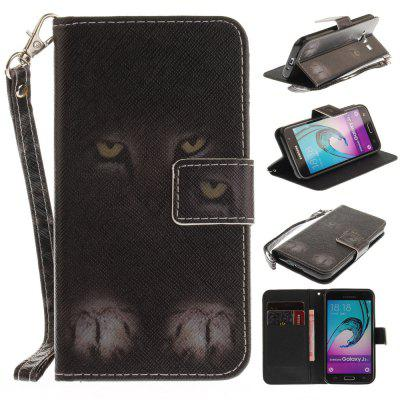 Cover Case for Samsung Galaxy J3 2016 (J310) Mystery Cat PU+TPU Leather with Stand and Card Slots Magnetic Closure
