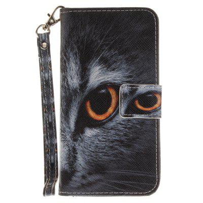 Cover Case for Samsung Galaxy J3 2016 (J310) Half Face of Cat PU+TPU Leather with Stand and Card Slots Magnetic Closure cover case for huawei p10 lite half a face of a cat pu tpu leather with stand and card slots magnetic closure