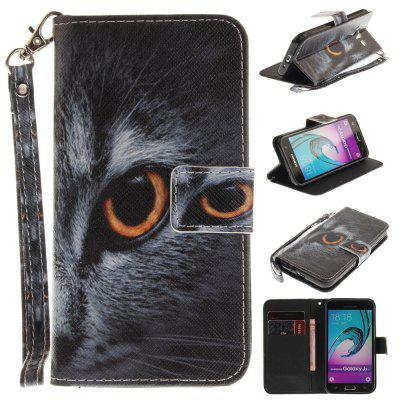 Cover Case for Samsung Galaxy J3 2016 (J310) Half Face of Cat PU+TPU Leather with Stand and Card Slots Magnetic Closure