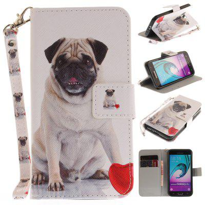 Cover Case for Samsung Galaxy J3 2016 (J310) Pug PU+TPU Leather with Stand and Card Slots Magnetic Closure