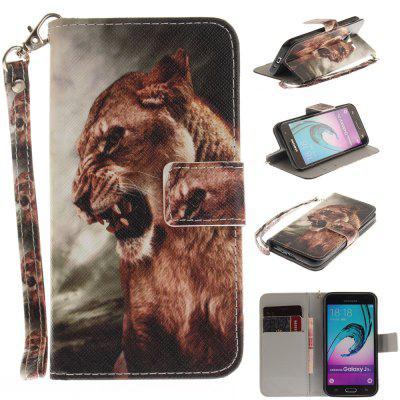 Cover Case for Samsung Galaxy J3 2016 (J310) A Male Lion PU+TPU Leather with Stand and Card Slots Magnetic Closure