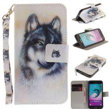 Cover Case for Samsung Galaxy J3 2016 (J310) Wolf PU+TPU Leather with Stand and Card Slots Magnetic Closure